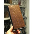 Coach Men's Embossed Signature logo Durable Leather Long Wallet (SADDLE) READY KL