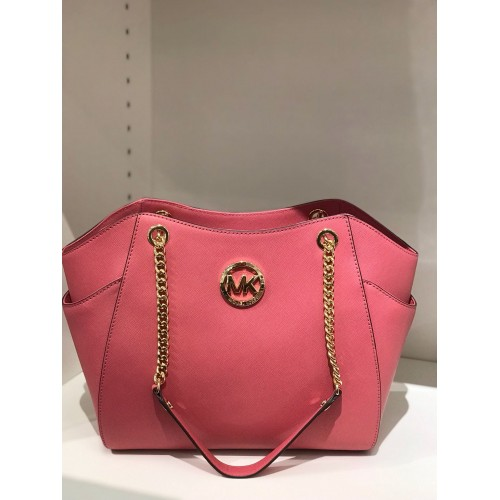 Michael Kors Jet Set Travel Large Chain Shoulder Leather Bag (TULIP) READY  KL c5c0f3e6b1bd7